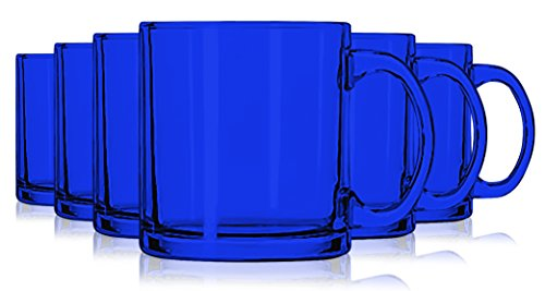 - Libbey Cobalt Blue Jumbo Coffee Mug Glasses 13 oz. set of 6 - Additional Vibrant Colors Available by TableTop King