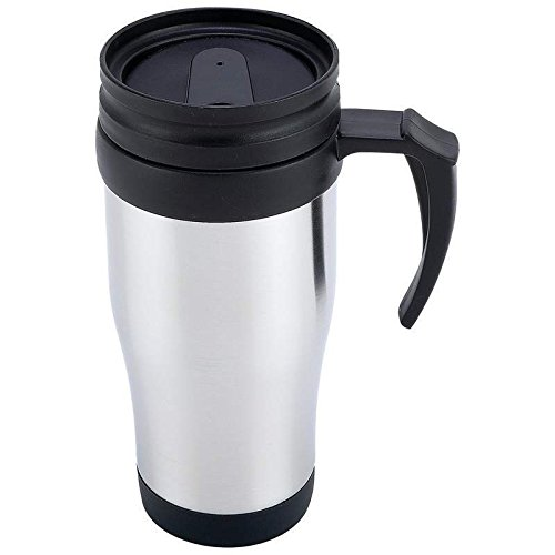 (16oz Insulated COFFEE TRAVEL MUG Stainless Steel Black ABS Liner Thermos Tumbler)