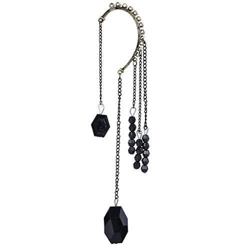 Bead Earrings Chain Dangle (YAZILIND Cool Dignity Black Dangle Chain Beads One Ear Earring for Women)
