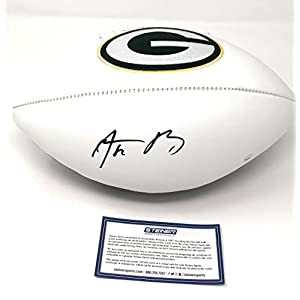 Aaron Rodgers Green Bay Packers Signed Autograph NFL Embroidered Logo Football Main Panel Steiner Sports Certified