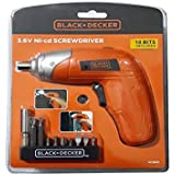 Black+Decker 3.6V Li-Ion Cordless Power Screwdriver Kit with 10 Pieces Screwdriver Bitset , Orange/Black - KC3610-B5, 2…
