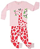 Elowel Kid's Giraffe Pajama Set, Pink, 2