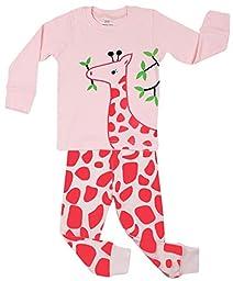 Elowel Kid\'s Giraffe Pajama Set, Pink, 6-12 Months
