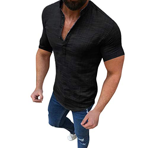 Mens Short Sleeve Henley Shirt Cotton Linen Beach Yoga Loose Fit Casual Work Shirt Tops Black ()