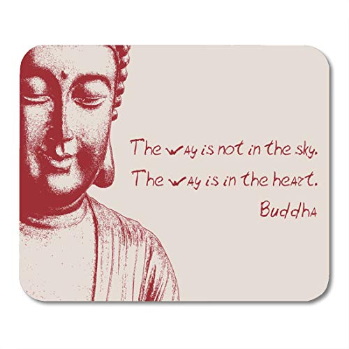 Boszina Mouse Pads Asia Adage Burgundy Buddha on Pink Dictum The Way is Not in Sky Heart Ancient Asian Mouse Pad for notebooks,Desktop Computers mats 9.5