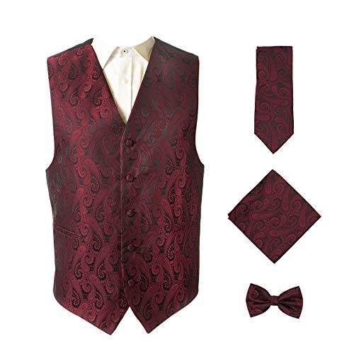 4pc Paisley Vest Set-Wine Red-M