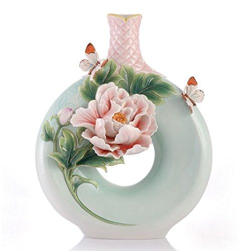 FZ03418 Franz New introduction Joy and Happiness - Peony Design Sculptured Porcelain - Design Porcelain Vase Sculptured