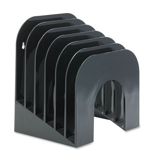 Six-Tier Jumbo Incline Sorter, Plastic, 9 3/8 x 10 1/2 x 7 3/8, Black