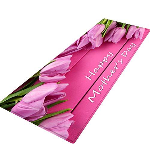 (CANAFA Area Rug Happy Mother's Day Pattern Square Area Rug Fleece Kitchen Bathroom 40X120CM)