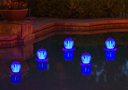 Poolmaster Floating Pool Lights for Swimming Pool, Patio and Hanging Solar Lanterns, 2 Pack, Blue