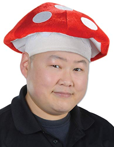 Beistle Plush Mushroom Hat, Red/White