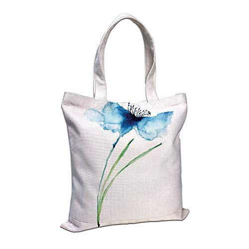Personalized Petite Tote Bag - Cotton Linen Tote Bag, Watercolor Flower,Petite Tall Cornflower Summer Botanic Floral Blooming Plants Artsy Print,Navy White Green Shopping Camping School Casual Pocket