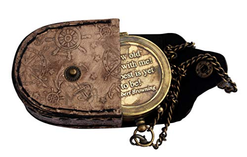 Compass On Chain (MAH Grow Old with ME Engraved Brass Compass ON Chain with Leather CASE, Directional Magnetic Compass.)
