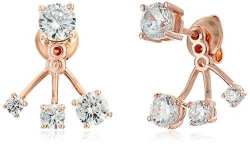 Crislu 18K Rose Gold Plated Sterling Silver Cubic Zirconia Graduated Earring (Crislu Cubic Zirconia Earrings)