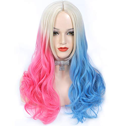 Amchoice Long Wavy Wig for Women Blonde Pink Blue Ombre Wigs Halloween Cosplay Costume Party or Daily Use