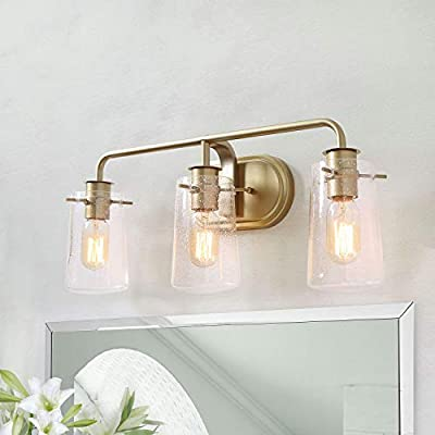 KSANA Gold Bathroom Light Fixtures, 3 Lights Vanity Light Fixture with Seeded Glass, Modern Brushed Gold Finish