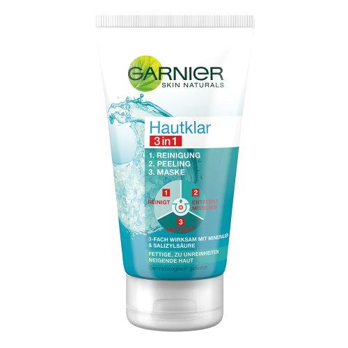 Garnier Hautklar 3in1 Reinigung/Peeling/Maske, Mitesserentferner, Gesichtsmaske mit Salicylsäure und Zink, 150 ml