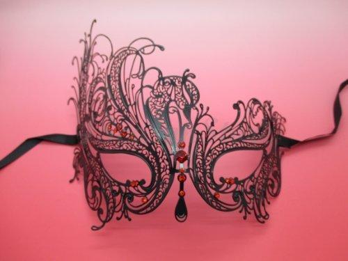 NEW Laser Cut Venetian Halloween Masquerade Mask Costume Black Swan Inspire Design - Black w/ RED Rhinestones by -