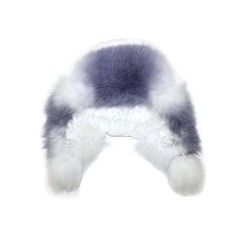 711546 New Knit Knitted Natural White Purple Rex Rabbit Fox Fur Trooper Hat Accessory by Bergama