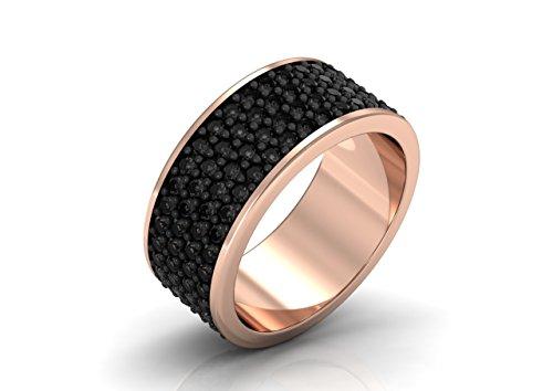 14k Caviar - 14K Black Caviar- Classic Engagement or Wedding Band with Black Diamond