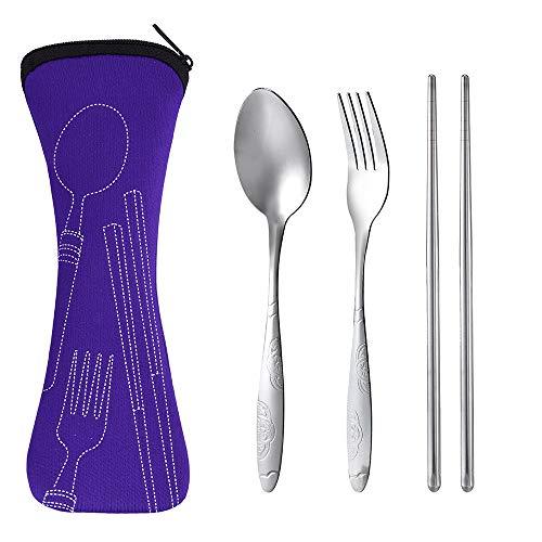 YJYDADA 3Pcs Stainless Steel Fork Spoon Chopsticks Travel Camping Cutlery (Purple) ()