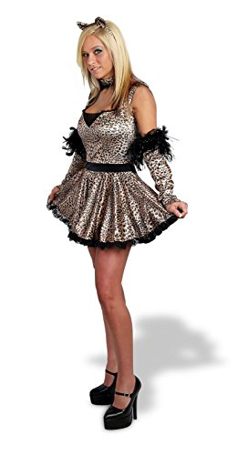 Sunnywood Women's Lava Diva Leopard Costume, Black/Brown, Small/Medium -