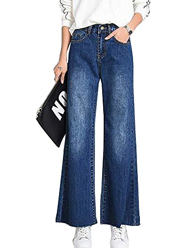OCHENTA Femme Pantalon Jean Jambe Large Casual