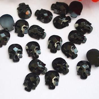 Strass Jet - Pukido 68mm Non Hotfix Rhinestones Skull Head Flatback Crystals for Nails 3D Nail Art Strass Decoration Gems - (Color: Jet Black 10pcs, Size: 6x8mm, Number of Pcs: 10Pcs)