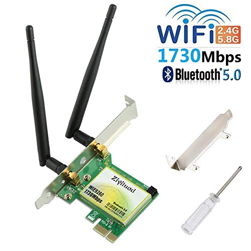 WIFI Card AC1730Mbps Bluetooth 5.0 PCIe Wifi Card,WiFi Bluetooth card,802.11AC Dual-Band wireless network card(2.4GHz 300Mbps or 5GHz 1430Mbps),9260 Wifi Adapter Card for Desktop PC Gaming(WIE9260) (Best Wireless Card For Pc Gaming)