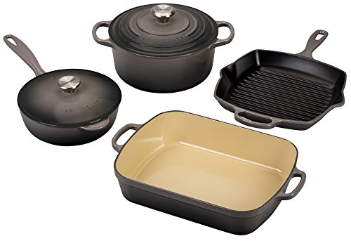 Le Creuset Signature 6-Piece Cast Iron Cookware Set, Oyster