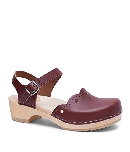 Heel Milan Swedish Sandals Clog Women Sandgrens Wooden Cognac Low Otwxwq6