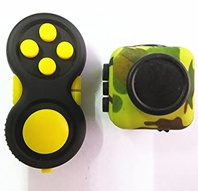 Fidget Pad and Fidget Cube camouflage Hand shank Relieves Stress ADD, ADHD, Anxiety for Kids and Adults Killing Time(Yellow + Green Camo)(2 Pack)