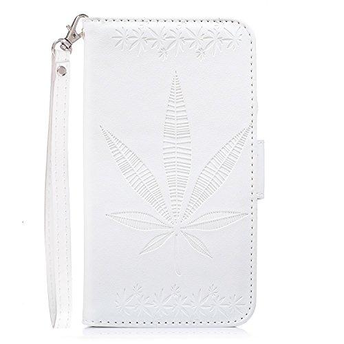 IPhone 7 Plus Housse Case, Double Side Embossing Fleurs Haute Qualité Flip Stand PU Leather Case avec Lanyard Wallet & Card Cash Slots pour Apple IPhone 7 Plus ( Color : White )