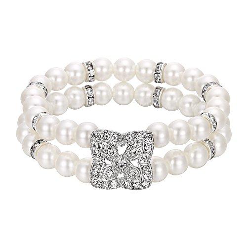 (EleQueen Women's Wedding Bridal Austrian Cristal Simulated Pearl Bracelet Vintage Double Layer Elastic Bracelet for Women- Clover)
