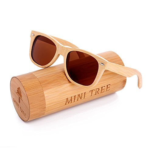 Mini Tree Mens Polarized Sunglasses Replacement for Handcraft Bamboo Vintage Shades For Women (Bamboo, Tea)