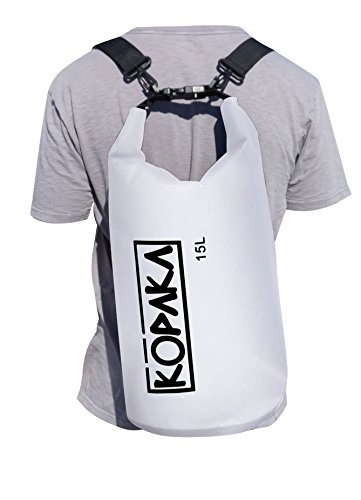 Waterproof Dry Bag Backpack  15L  By Kopaka   Lightweight Sports  Adventure Travel Bag With 2 Shoulder Straps  White