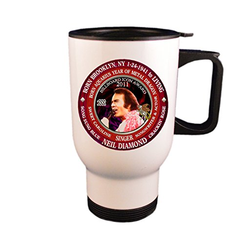 Neil Diamond Singer Travel Mug / Cup, Astrology Aquarius Zodiac Metal Dragon