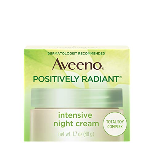 Aveeno Positively Radiant Intensive Moisturizing Night Cream with Total Soy Complex & Vitamin B3, Oil-Free, Non-Greasy, Hypoallergenic & Non-Comedogenic, 1.7 oz (Best Cheap Night Cream)
