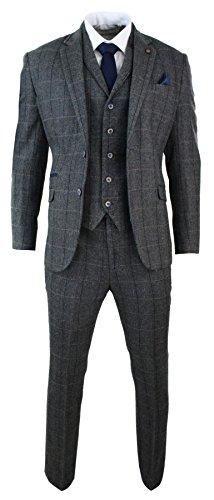 Cavani Mens 3 Piece Classic Tweed Herringbone Check Grey Navy Slim Fit Vintage Suit Charcoal 38