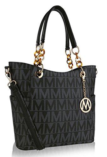 MKF Crossbody Shoulder Handbag for Women Removable Shoulder Strap Vegan Leather Top-Handle Satchel-Tote Bag Black