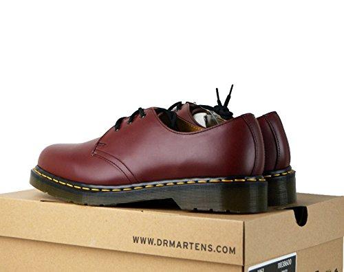 Uk 7 - 12 Cereza Rojo Dr Martens Airwair 1461Z Cuero 3 Ojetes Zapato Liso EU 42