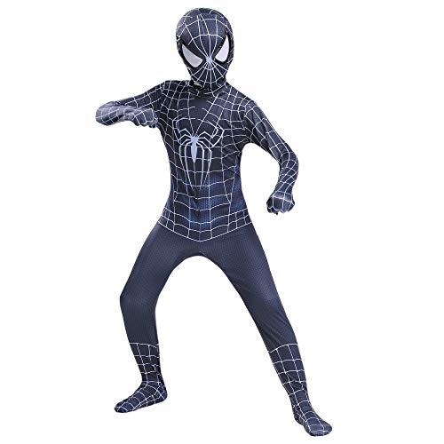 YongEnShang The Spider-Verse Kids Bodysuit Black Spiderman Superhero Costumes Lycra Spandex Halloween Cosplay Costumes (Black Spiderman,120)