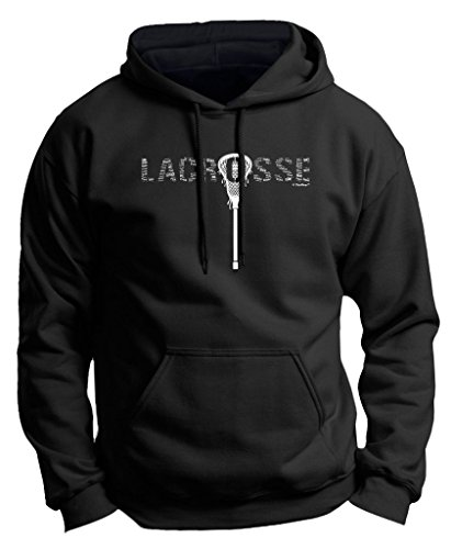 ft Lacrosse Word Collage Lacrosse Fan Gift Premium Hoodie Sweatshirt Large Black ()