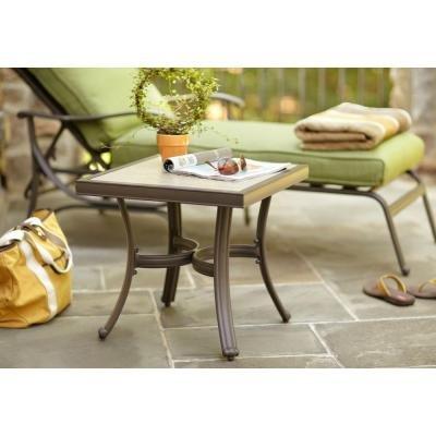 Hampton Bay Rust-Free Aluminum Pembrey Patio Accent Table
