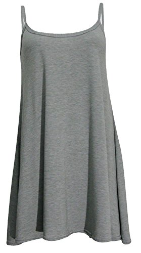 New Womens Plus Size Cami Strappy Sleevless Long Swing Top Mini Dress 8-22 ( Charcoal , UK 12-14 / EU 40-42 )