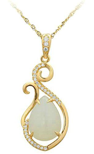 AmDxD Jewelry Sterling Silver Pendant Necklaces for Women Leaves Drop Cubic Zirconia Gold 1.49X2.99CM (T-bar Drop Ceiling Connector)