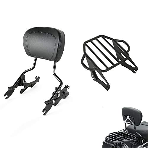 TCMT Detachable Passenger Backrest Sissy Bar With Detachable 2-Up Luggage Rack 4 Point Docking Hardware Kits Fits For Harley Touring 2014-2019 (Black, Style C)