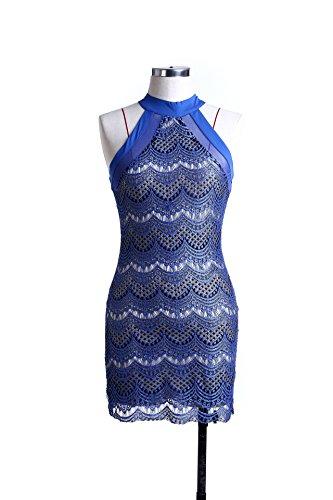 Elegant Vestido Vintage IHRKleid® Mini Vestido de Cóctel de Encaje Hueco de Punta Damas Azul