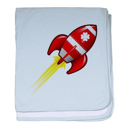 CafePress - Four Leaf Clover On Retro Rocket - Baby Blanket - Baby Blanket, Super Soft Newborn Swaddle - Rocket Clipart