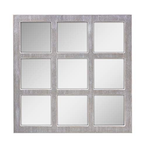 (Stonebriar Square Rustic 9 Panel Window Pane Hanging Wall Mirror with Worn White Finish and Attached Mounting Brackets, Decorative Farmhouse and Coastal Home Decor Accents)